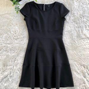 Ann Taylor black a line dress exposed zipper 4